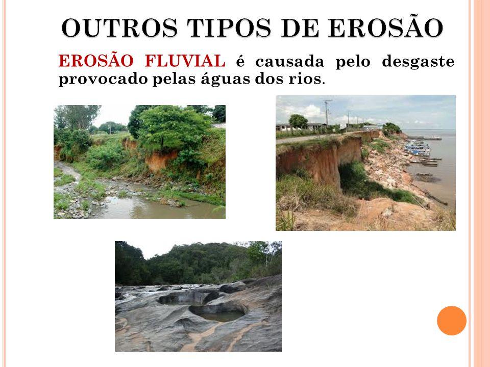 EROSÃO FLUVIAL é causada pelo desgaste provocado pelas águas dos rios.