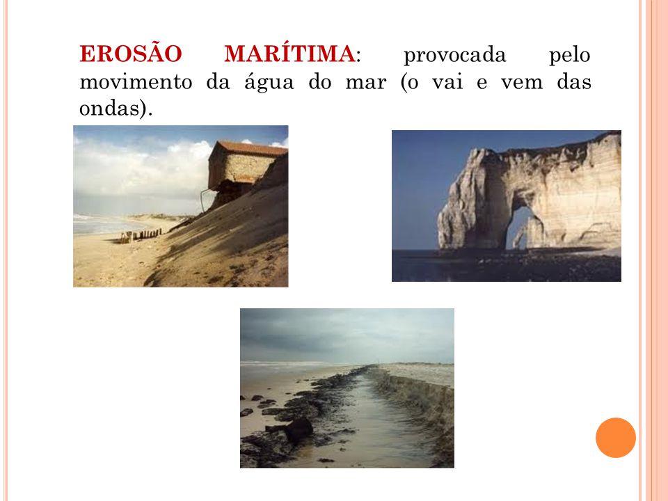 EROSÃO MARÍTIMA : provocada pelo movimento da água do mar (o vai e vem das ondas).