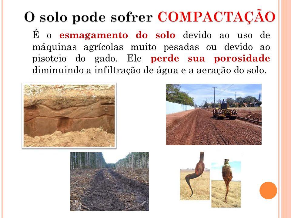 É o esmagamento do solo devido ao uso de máquinas agrícolas muito pesadas ou devido ao pisoteio do gado.