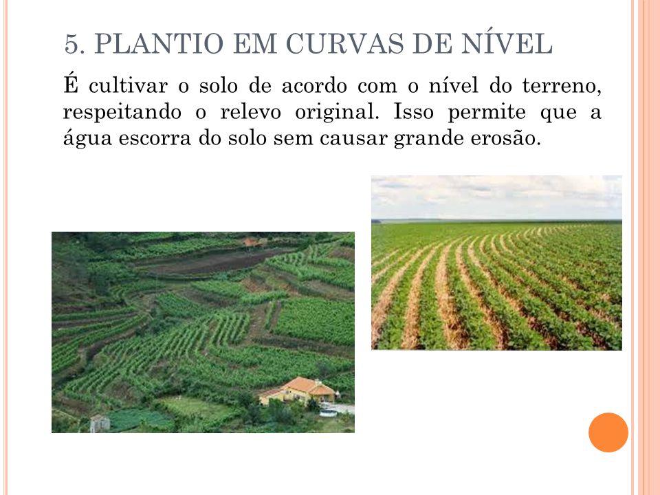 5. PLANTIO EM CURVAS DE NÍVEL É cultivar o solo de acordo com o nível do terreno, respeitando o relevo original. Isso permite que a água escorra do so