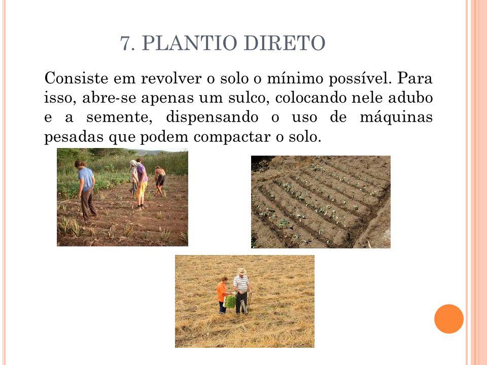 7. PLANTIO DIRETO Consiste em revolver o solo o mínimo possível. Para isso, abre-se apenas um sulco, colocando nele adubo e a semente, dispensando o u