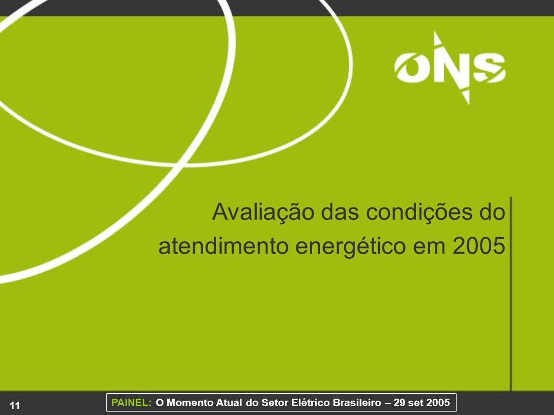 11 PAINEL: O Momento Atual do Setor Elétrico Brasileiro – 29 set 2005 Avaliação das condições do atendimento energético em 2005