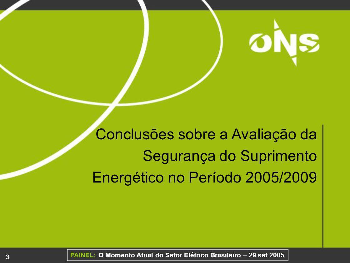 24 PAINEL: O Momento Atual do Setor Elétrico Brasileiro – 29 set 2005 Tipos de Componentes 20002001200220032004 Linhas de transmissão 587594614672693 Quantidade de Componentes 20002001200220032004 587594614672693 Extensão em km69.03470.03372.50677.64280.022 Transformadores772799815831859 O número total de perturbações com corte de carga superior a 100 MW reduziu de 56 (em 2003) para 28 (em 2004), ou seja de 3,5% para 1,5% do número total de perturbações; O nº de perturbações com qualquer corte de carga ou com corte de carga menor que 50 MW também diminui de 2003 para 2004, embora os ativos do SIN tenham aumentado.