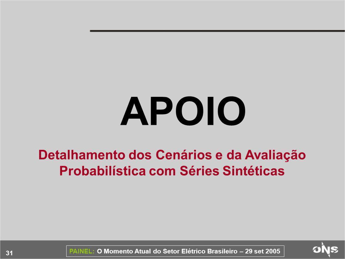 31 PAINEL: O Momento Atual do Setor Elétrico Brasileiro – 29 set 2005 APOIO Detalhamento dos Cenários e da Avaliação Probabilística com Séries Sintéticas