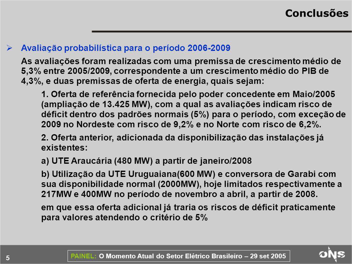 6 PAINEL: O Momento Atual do Setor Elétrico Brasileiro – 29 set 2005 Conclusões Em suma, dada a antecipação com que está sendo feita a avaliação, permitindo a adoção de ações corretivas de expansão da oferta pelo Poder Concedente, e a profundidade dos deficits no Nordeste e no Norte – para profundidades < 2,5% da carga os riscos de deficit desses dois subsistemas já seriam trazidos para dentro do critério setorial – avalia-se que a situação é gerenciável.