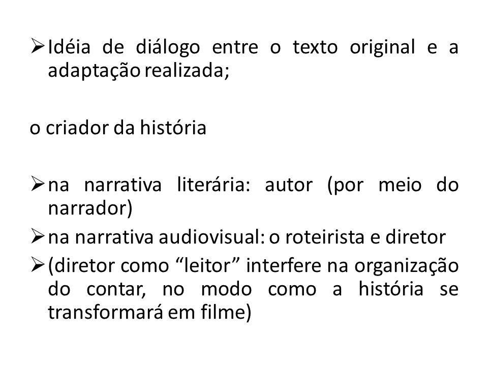  Idéia de diálogo entre o texto original e a adaptação realizada; o criador da história  na narrativa literária: autor (por meio do narrador)  na n