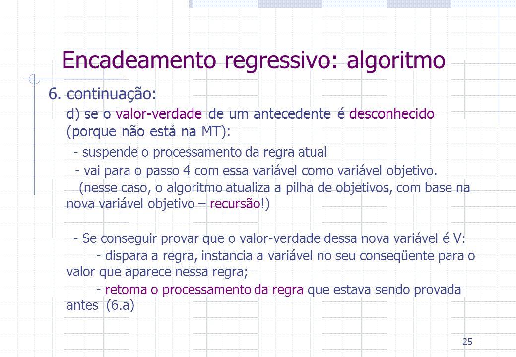 25 Encadeamento regressivo: algoritmo 6. continuação: d) se o valor-verdade de um antecedente é desconhecido (porque não está na MT): - suspende o pro