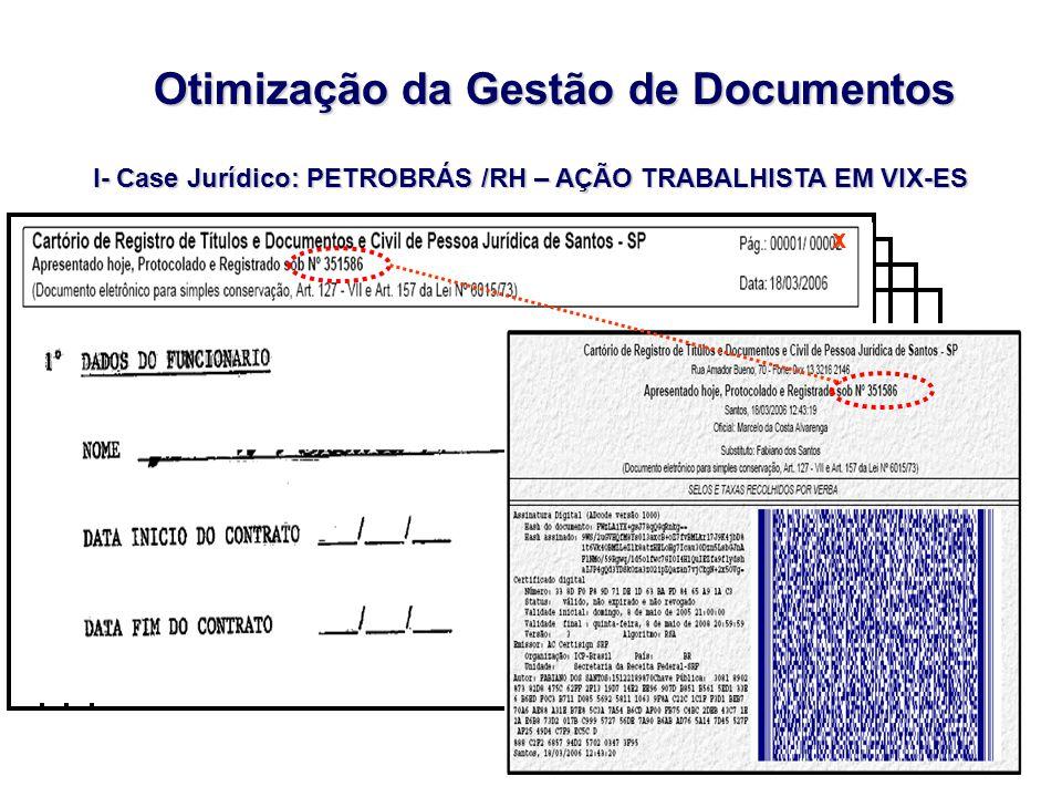 I- Case Jurídico: PETROBRÁS /RH – AÇÃO TRABALHISTA EM VIX-ES Otimização da Gestão de Documentos x
