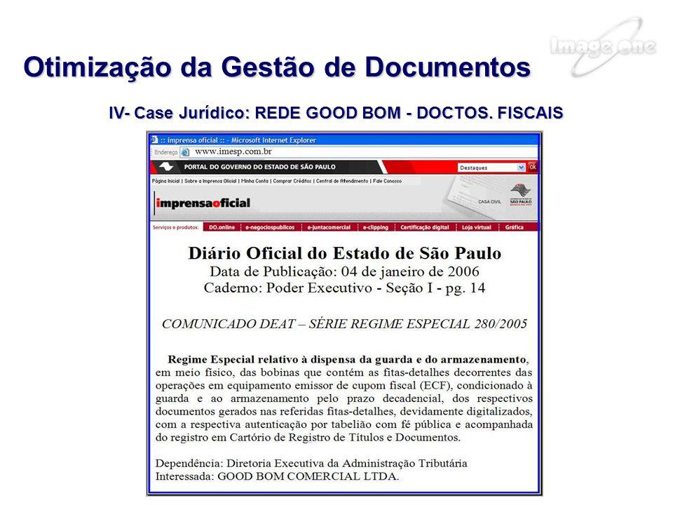 IV- Case Jurídico: REDE GOOD BOM - DOCTOS. FISCAIS Otimização da Gestão de Documentos