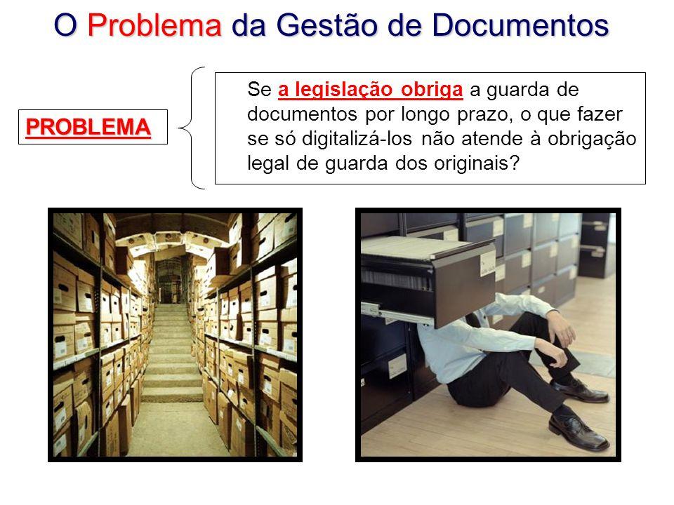 O Problema da Gestão de Documentos Se a legislação obriga a guarda de documentos por longo prazo, o que fazer se só digitalizá-los não atende à obrigação legal de guarda dos originais.