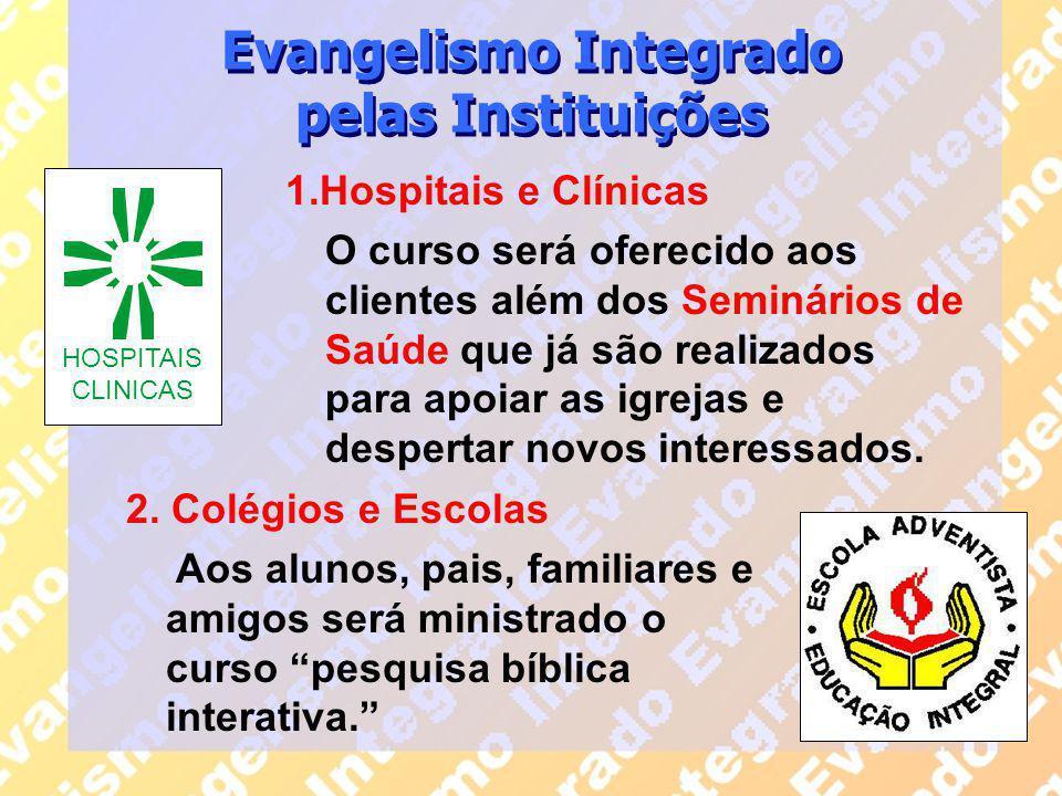 1.Hospitais e Clínicas O curso será oferecido aos clientes além dos Seminários de Saúde que já são realizados para apoiar as igrejas e despertar novos