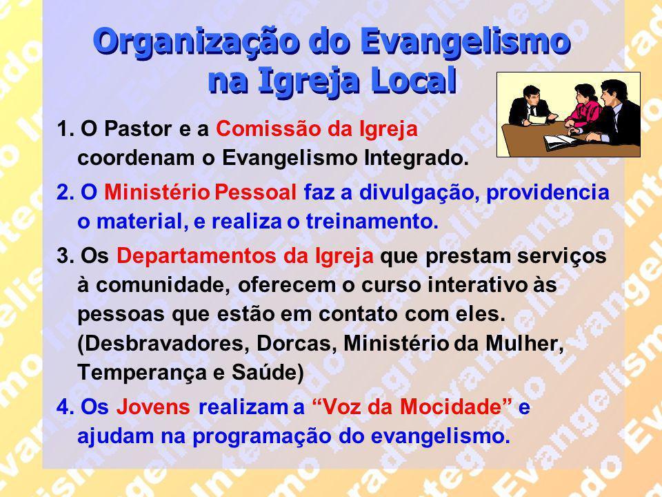 Organização do Evangelismo na Igreja Local 1. O Pastor e a Comissão da Igreja coordenam o Evangelismo Integrado. 2. O Ministério Pessoal faz a divulga