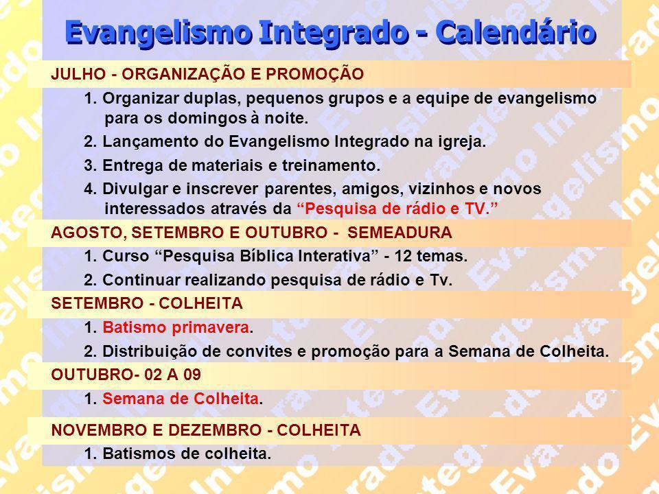 Evangelismo Integrado - Calendário JULHO - ORGANIZAÇÃO E PROMOÇÃO 1. Organizar duplas, pequenos grupos e a equipe de evangelismo para os domingos à no