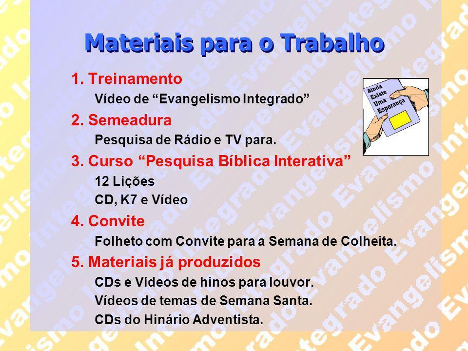"""Materiais para o Trabalho 1. Treinamento Vídeo de """"Evangelismo Integrado"""" 2. Semeadura Pesquisa de Rádio e TV para. 3. Curso """"Pesquisa Bíblica Interat"""
