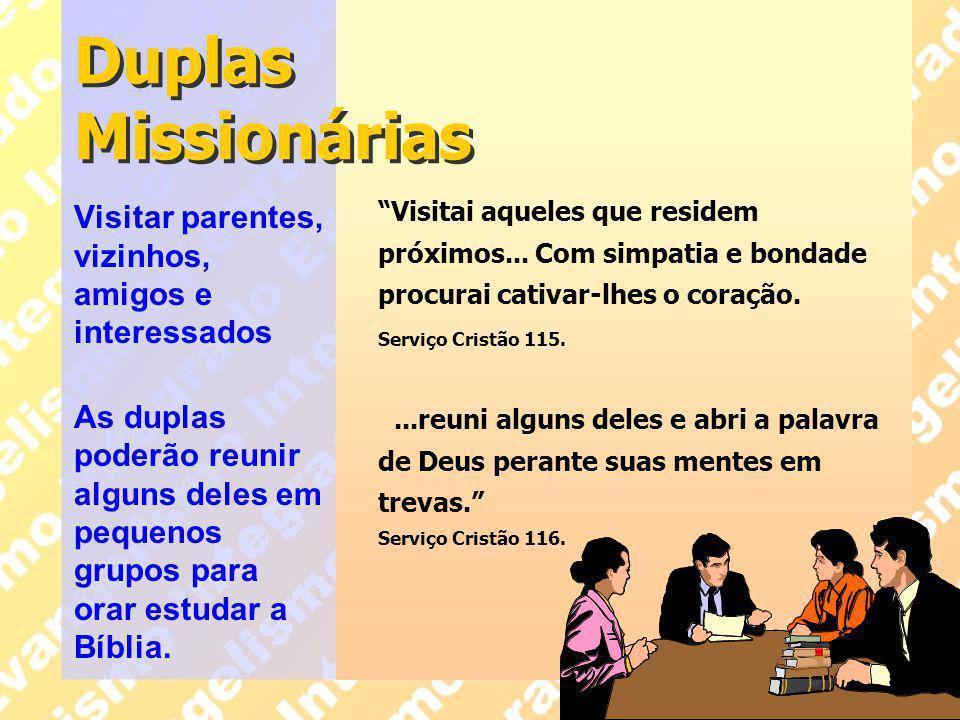 """Duplas Missionárias """"Visitai aqueles que residem próximos... Com simpatia e bondade procurai cativar-lhes o coração. Serviço Cristão 115....reuni algu"""
