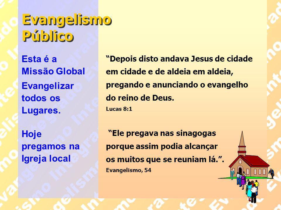 """Evangelismo Público """"Depois disto andava Jesus de cidade em cidade e de aldeia em aldeia, pregando e anunciando o evangelho do reino de Deus. Lucas 8:"""