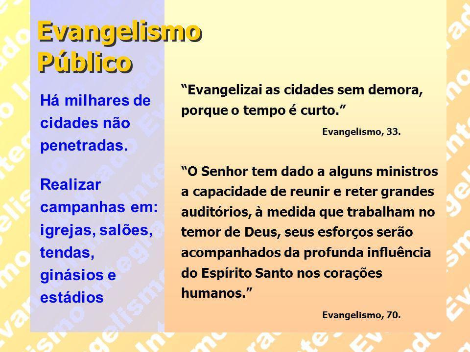 """Evangelismo Público """"Evangelizai as cidades sem demora, porque o tempo é curto."""" Evangelismo, 33. """"O Senhor tem dado a alguns ministros a capacidade d"""