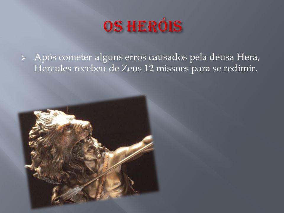  Após cometer alguns erros causados pela deusa Hera, Hercules recebeu de Zeus 12 missoes para se redimir.