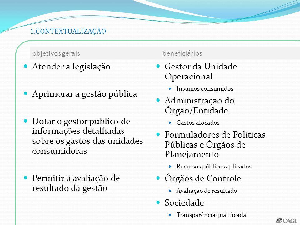 Atender a legislação Aprimorar a gestão pública Dotar o gestor público de informações detalhadas sobre os gastos das unidades consumidoras Permitir a