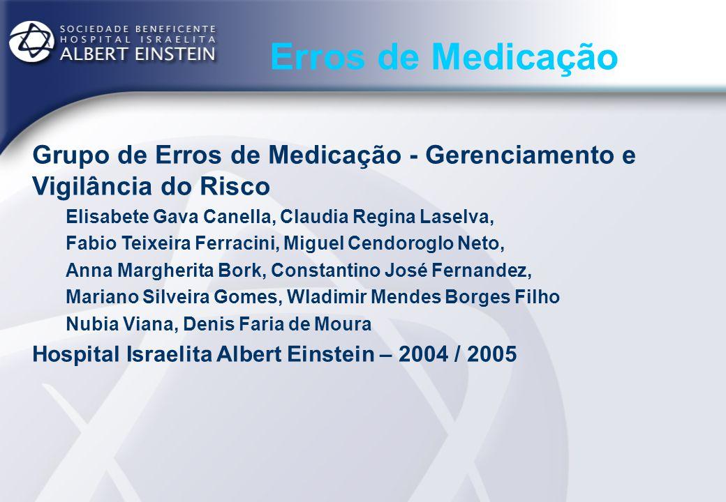 Erros de Medicação Hospital Israelita Albert Einstein – 2004 Funcionários: 4500 Médicos cadastrados: 4700 (800) Leitos: 512 (operacionais + extras) Pacientes dia: 136.281 Atendimentos de Urgência: 85157 Cirurgias: 23601 Transplantes: 226 Tempo médio de permanência: 4,58 dias