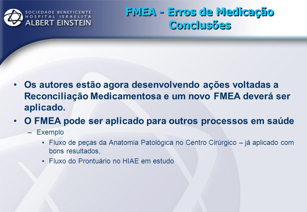 FMEA - Erros de Medicação Conclusões Os autores estão agora desenvolvendo ações voltadas a Reconciliação Medicamentosa e um novo FMEA deverá ser aplic