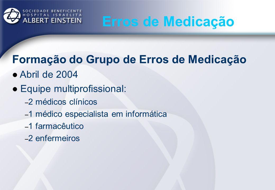 Erros de Medicação Formação do Grupo de Erros de Medicação Abril de 2004 Equipe multiprofissional: – 2 médicos clínicos – 1 médico especialista em inf