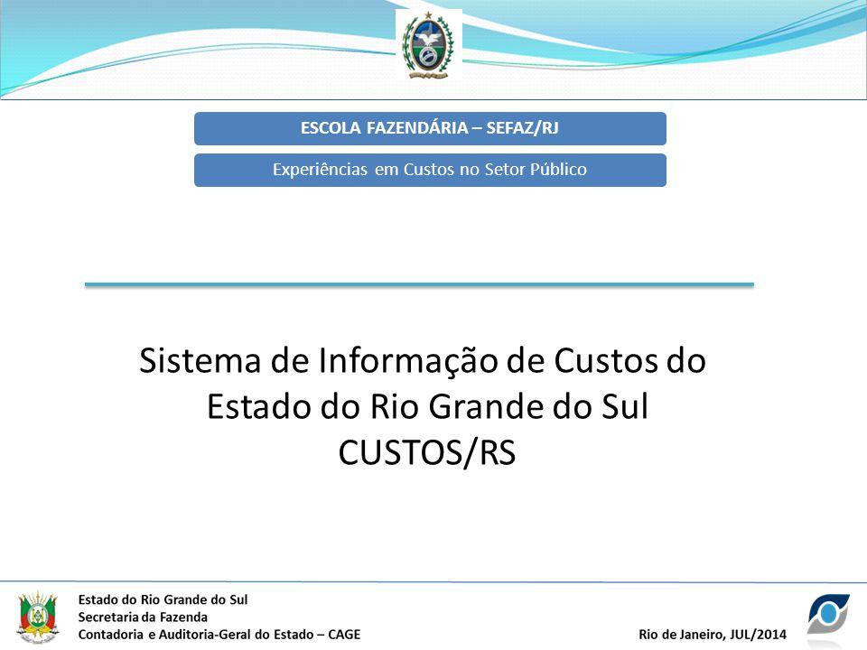 ESCOLA FAZENDÁRIA – SEFAZ/RJExperiências em Custos no Setor Público Sistema de Informação de Custos do Estado do Rio Grande do Sul CUSTOS/RS