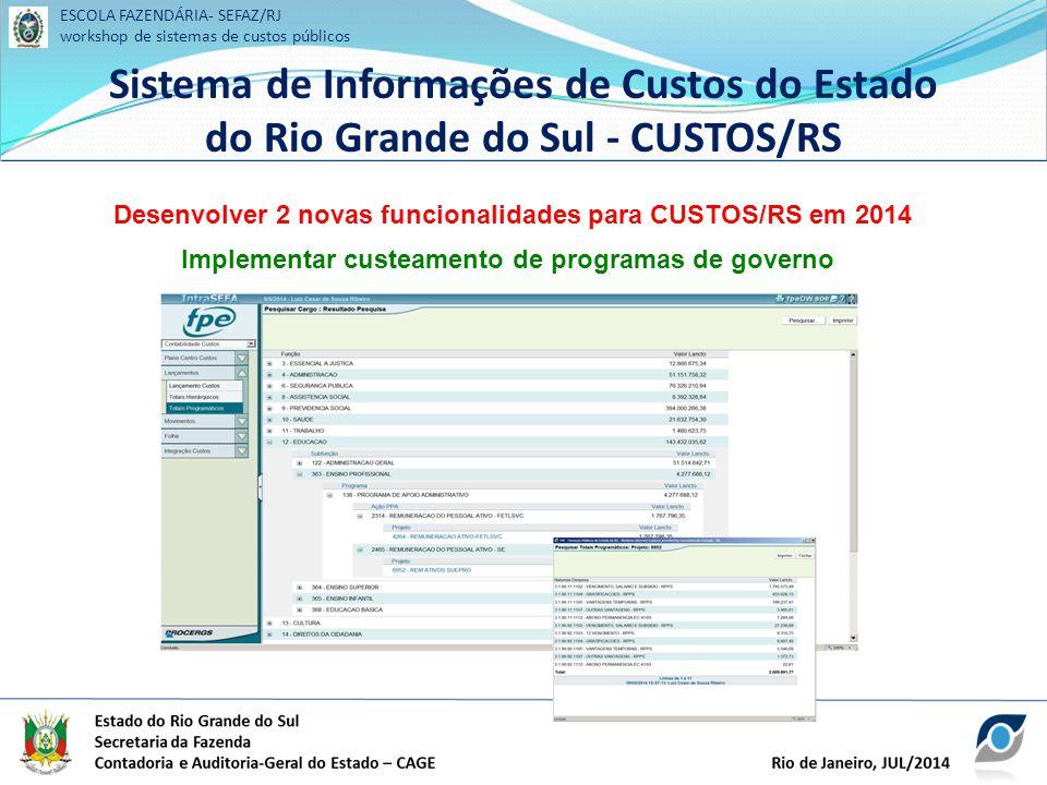 ESCOLA FAZENDÁRIA- SEFAZ/RJ workshop de sistemas de custos públicos Sistema de Informações de Custos do Estado do Rio Grande do Sul - CUSTOS/RS ESCOLA FAZENDÁRIA- SEFAZ/RJ workshop de sistemas de custos públicos Sistema de Informações de Custos do Estado do Rio Grande do Sul - CUSTOS/RS Desenvolver 2 novas funcionalidades para CUSTOS/RS em 2014 Implementar custeamento de programas de governo