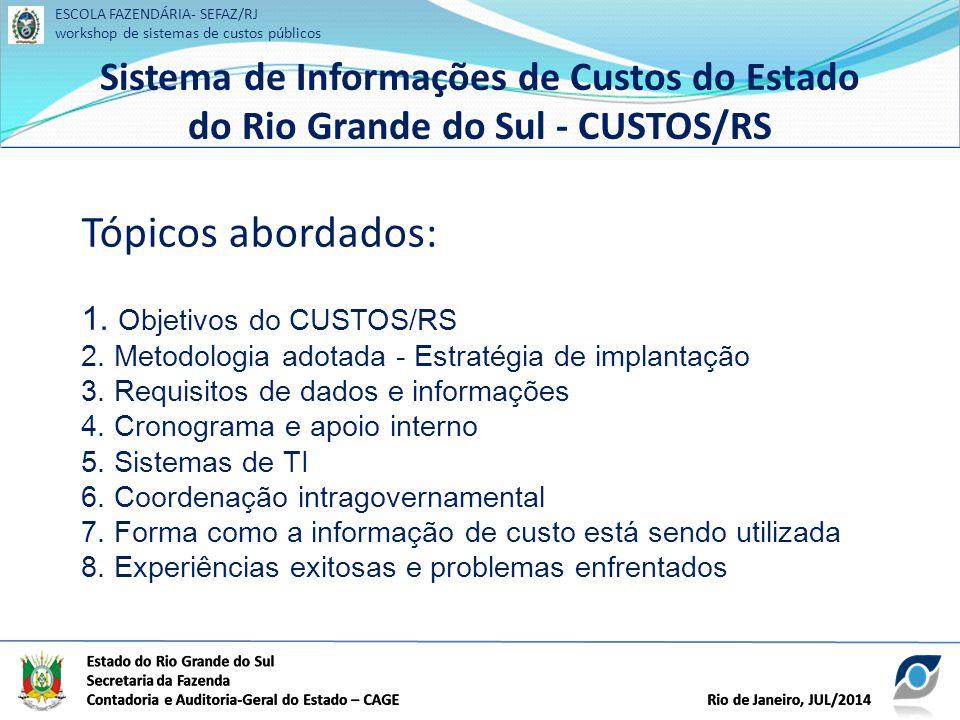 ESCOLA FAZENDÁRIA- SEFAZ/RJ workshop de sistemas de custos públicos Sistema de Informações de Custos do Estado do Rio Grande do Sul - CUSTOS/RS ESCOLA FAZENDÁRIA- SEFAZ/RJ workshop de sistemas de custos públicos Sistema de Informações de Custos do Estado do Rio Grande do Sul - CUSTOS/RS Tópicos abordados: 1.