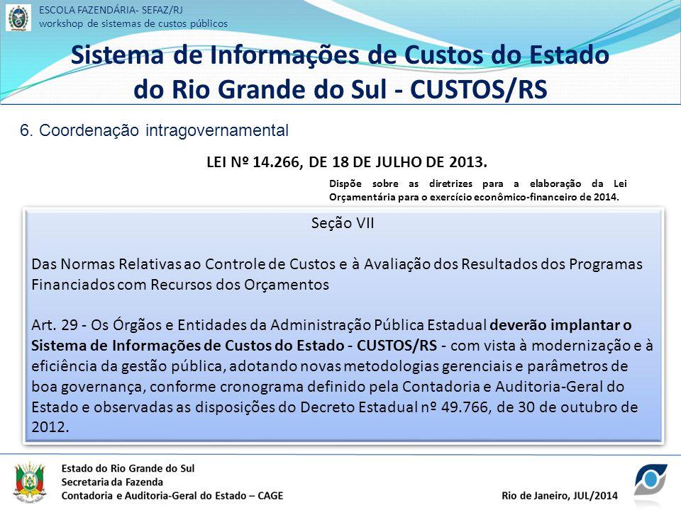 ESCOLA FAZENDÁRIA- SEFAZ/RJ workshop de sistemas de custos públicos Sistema de Informações de Custos do Estado do Rio Grande do Sul - CUSTOS/RS ESCOLA FAZENDÁRIA- SEFAZ/RJ workshop de sistemas de custos públicos Sistema de Informações de Custos do Estado do Rio Grande do Sul - CUSTOS/RS 6.