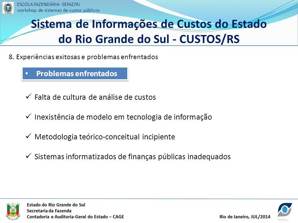 ESCOLA FAZENDÁRIA- SEFAZ/RJ workshop de sistemas de custos públicos Sistema de Informações de Custos do Estado do Rio Grande do Sul - CUSTOS/RS ESCOLA FAZENDÁRIA- SEFAZ/RJ workshop de sistemas de custos públicos Sistema de Informações de Custos do Estado do Rio Grande do Sul - CUSTOS/RS 8.