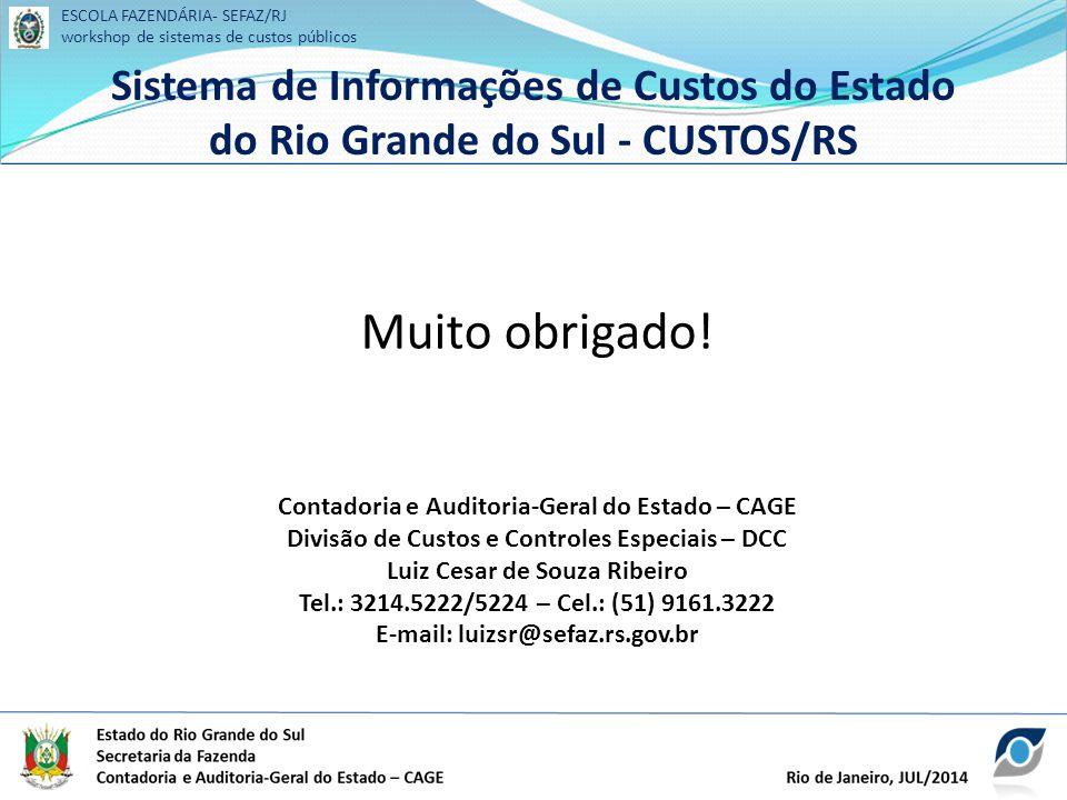 ESCOLA FAZENDÁRIA- SEFAZ/RJ workshop de sistemas de custos públicos Sistema de Informações de Custos do Estado do Rio Grande do Sul - CUSTOS/RS ESCOLA FAZENDÁRIA- SEFAZ/RJ workshop de sistemas de custos públicos Sistema de Informações de Custos do Estado do Rio Grande do Sul - CUSTOS/RS Muito obrigado.