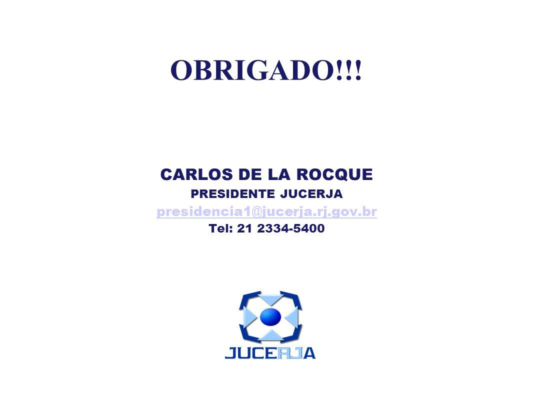 OBRIGADO!!! CARLOS DE LA ROCQUE PRESIDENTE JUCERJA presidencia1@jucerja.rj.gov.br Tel: 21 2334-5400