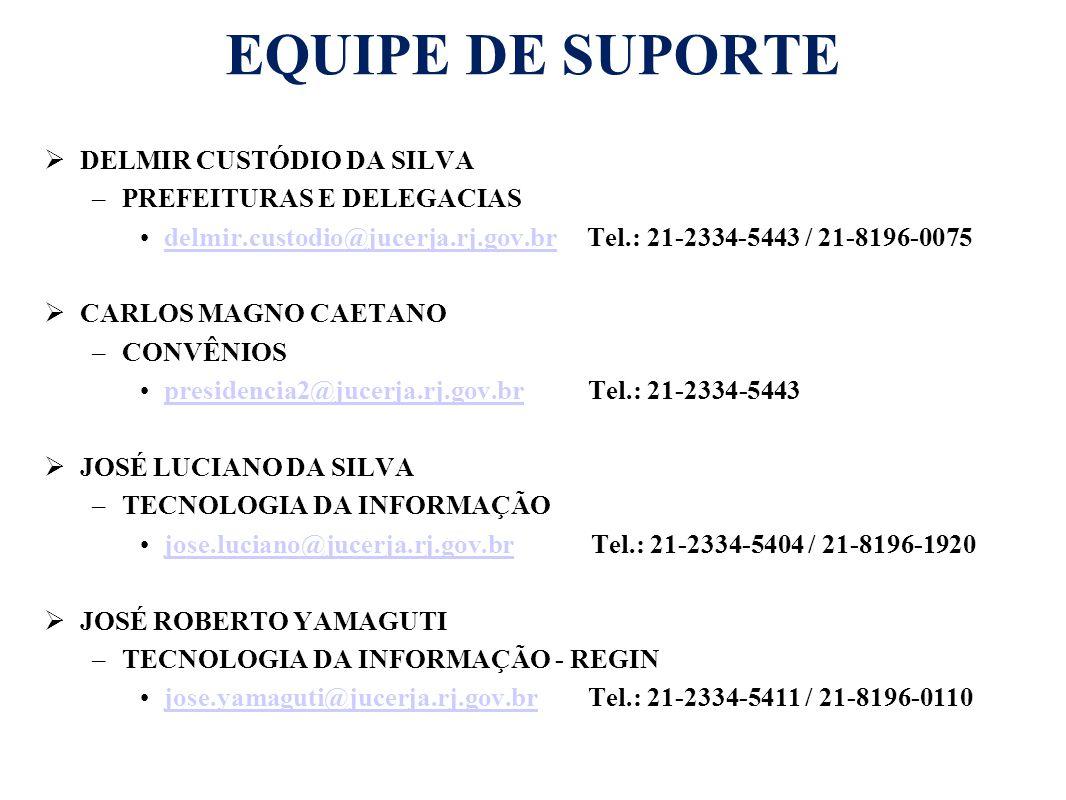 EQUIPE DE SUPORTE  DELMIR CUSTÓDIO DA SILVA –PREFEITURAS E DELEGACIAS delmir.custodio@jucerja.rj.gov.br Tel.: 21-2334-5443 / 21-8196-0075delmir.custo
