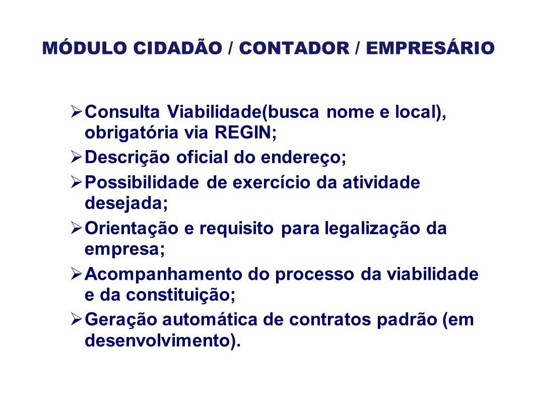 MÓDULO CIDADÃO / CONTADOR / EMPRESÁRIO  Consulta Viabilidade(busca nome e local), obrigatória via REGIN;  Descrição oficial do endereço;  Possibili