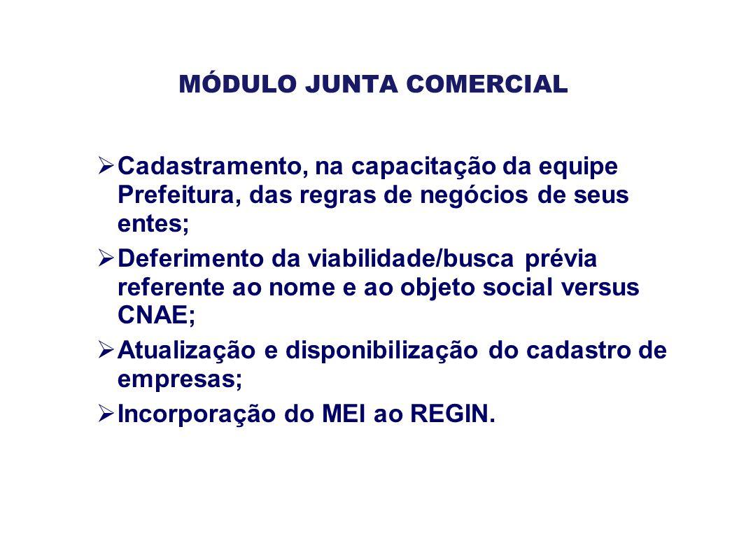 MÓDULO JUNTA COMERCIAL  Cadastramento, na capacitação da equipe Prefeitura, das regras de negócios de seus entes;  Deferimento da viabilidade/busca