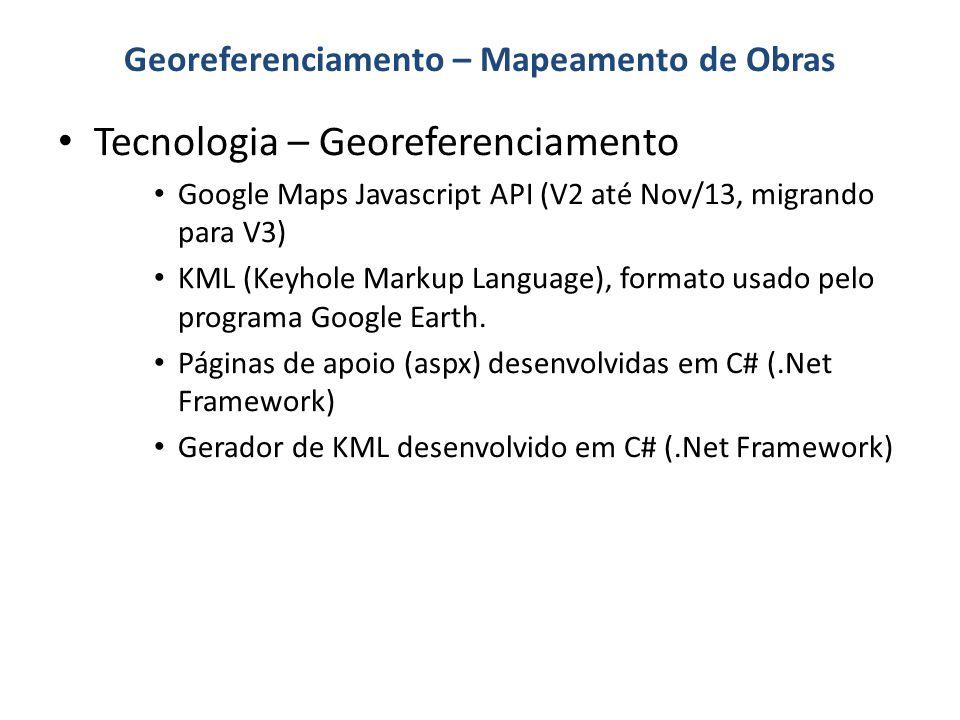 Tecnologia – Georeferenciamento Google Maps Javascript API (V2 até Nov/13, migrando para V3) KML (Keyhole Markup Language), formato usado pelo program