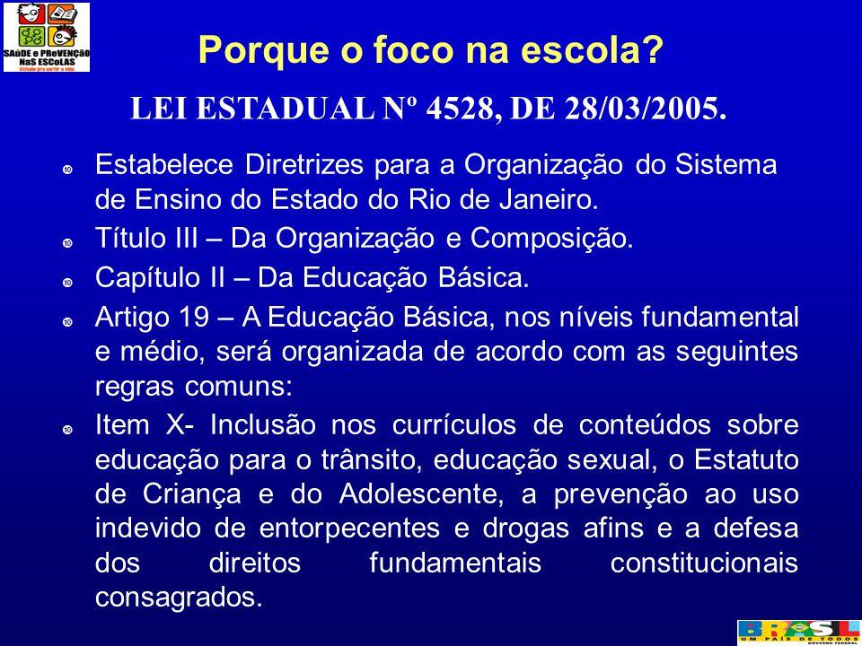 Porque o foco na escola? LEI ESTADUAL Nº 4528, DE 28/03/2005.  Estabelece Diretrizes para a Organização do Sistema de Ensino do Estado do Rio de Jane