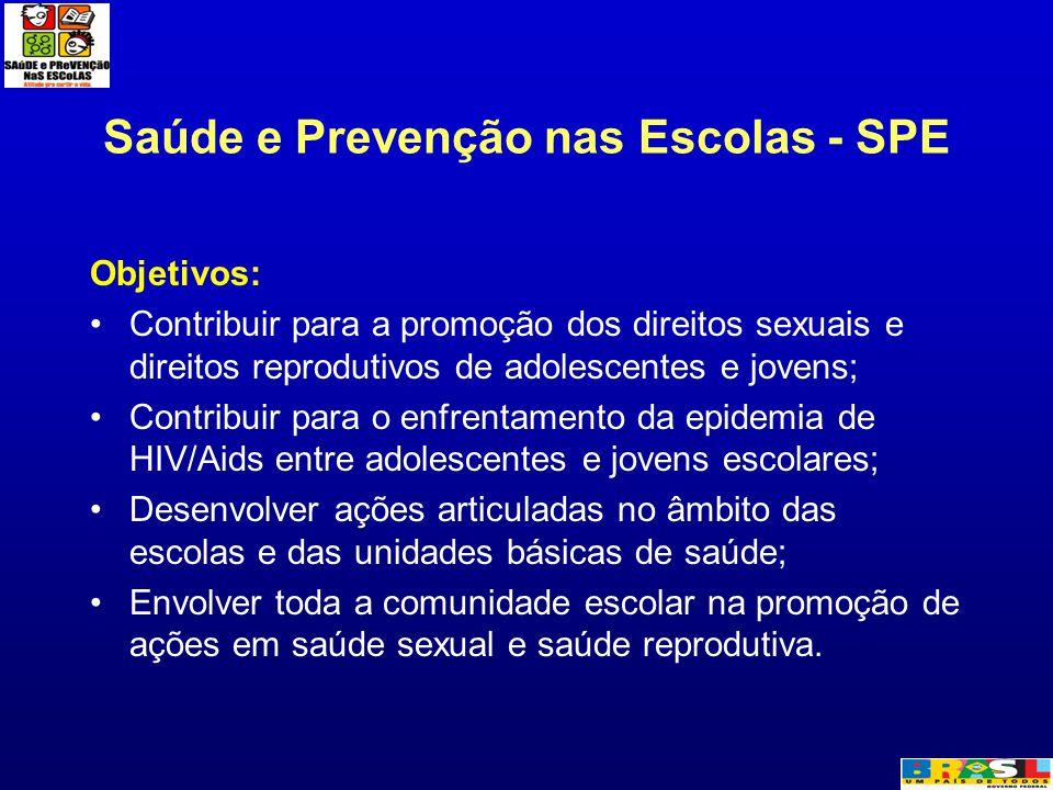 Saúde e Prevenção nas Escolas - SPE Objetivos: Contribuir para a promoção dos direitos sexuais e direitos reprodutivos de adolescentes e jovens; Contr