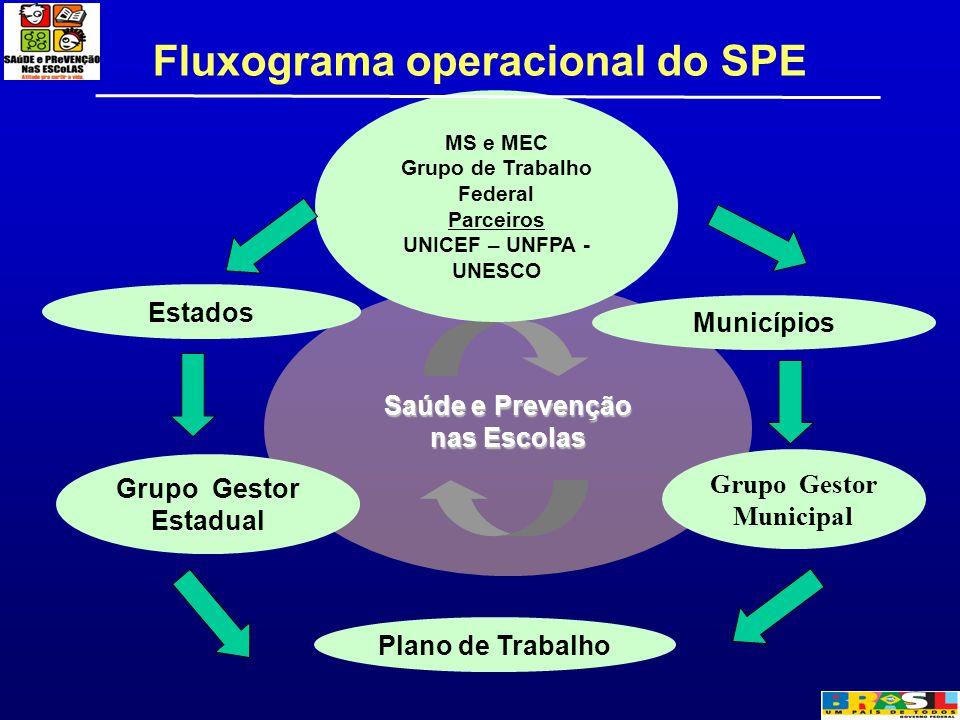 Fluxograma operacional do SPE Saúde e Prevenção nas Escolas MS e MEC Grupo de Trabalho Federal Parceiros UNICEF – UNFPA - UNESCO Municípios Grupo Gest