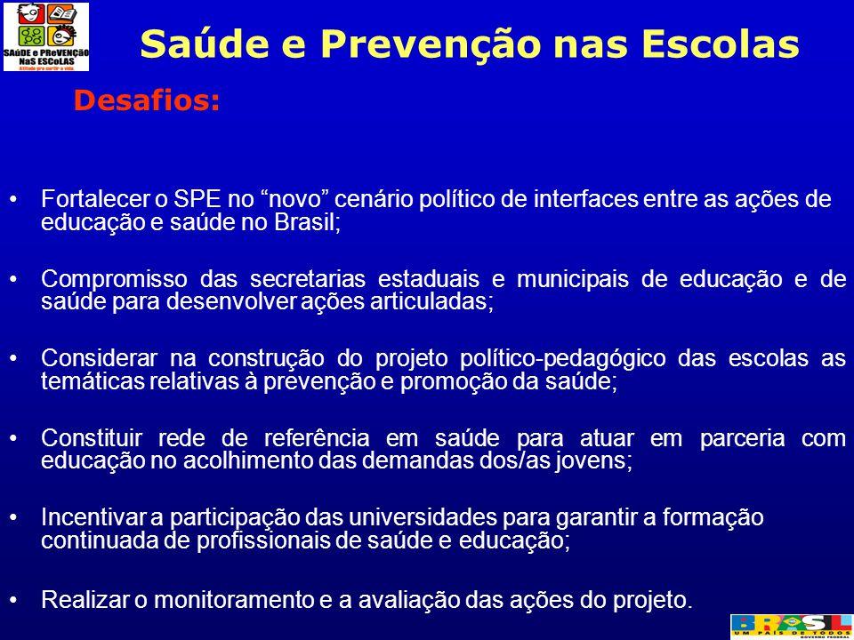 """Desafios: Fortalecer o SPE no """"novo"""" cenário político de interfaces entre as ações de educação e saúde no Brasil; Compromisso das secretarias estaduai"""