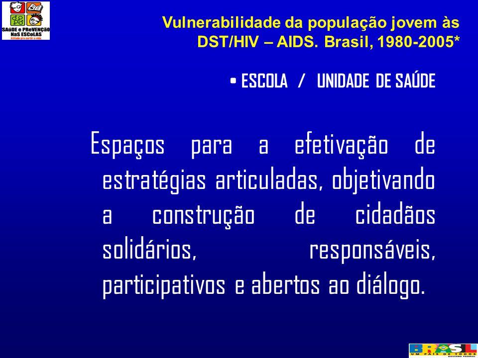 ESCOLA / UNIDADE DE SAÚDE Espaços para a efetivação de estratégias articuladas, objetivando a construção de cidadãos solidários, responsáveis, partici
