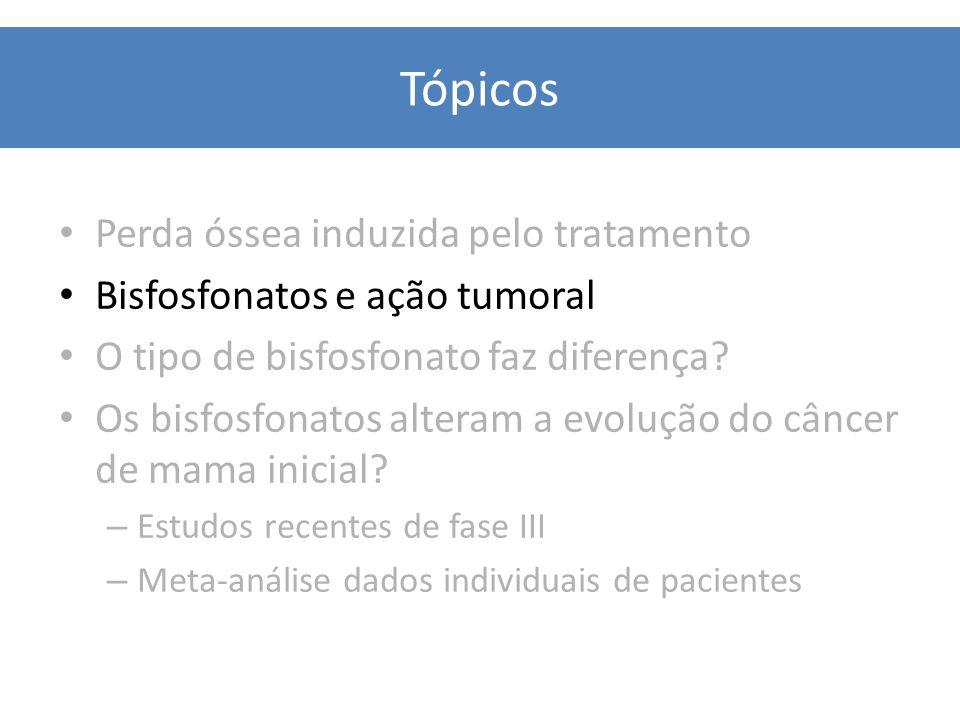 Quimioterapia Princípios Gerais Tópicos Perda óssea induzida pelo tratamento Bisfosfonatos e ação tumoral O tipo de bisfosfonato faz diferença? Os bis