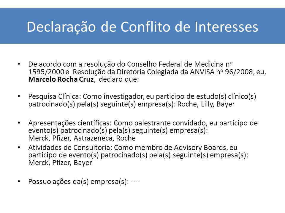 Declaração de Conflito de Interesses De acordo com a resolução do Conselho Federal de Medicina n o 1595/2000 e Resolução da Diretoria Colegiada da ANVISA n o 96/2008, eu, Marcelo Rocha Cruz, declaro que: Pesquisa Clínica: Como investigador, eu participo de estudo(s) clínico(s) patrocinado(s) pela(s) seguinte(s) empresa(s): Roche, Lilly, Bayer Apresentações científicas: Como palestrante convidado, eu participo de evento(s) patrocinado(s) pela(s) seguinte(s) empresa(s): Merck, Pfizer, Astrazeneca, Roche Atividades de Consultoria: Como membro de Advisory Boards, eu participo de evento(s) patrocinado(s) pela(s) seguinte(s) empresa(s): Merck, Pfizer, Bayer Possuo ações da(s) empresa(s): ----