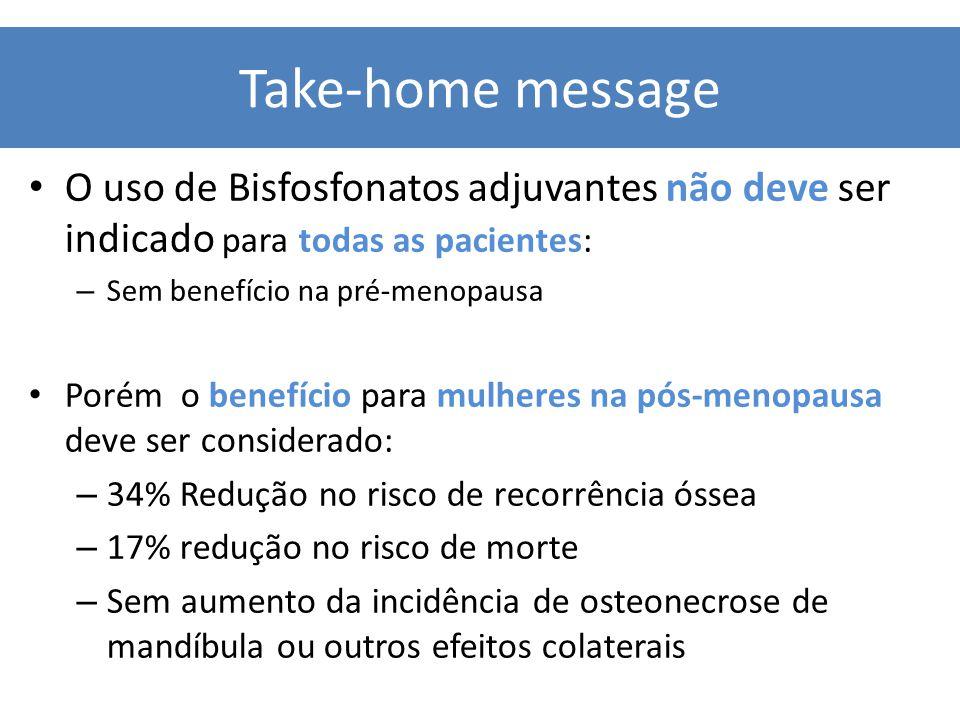 O uso de Bisfosfonatos adjuvantes não deve ser indicado para todas as pacientes: – Sem benefício na pré-menopausa Porém o benefício para mulheres na p