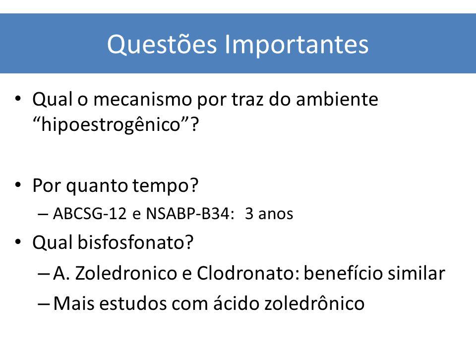 """Qual o mecanismo por traz do ambiente """"hipoestrogênico""""? Por quanto tempo? – ABCSG-12 e NSABP-B34: 3 anos Qual bisfosfonato? – A. Zoledronico e Clodro"""