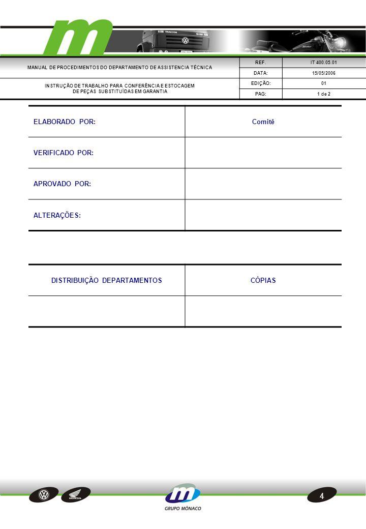 5  1.OBJETIVO  Detalhar os procedimentos para a conferência e estocagem de veículo.