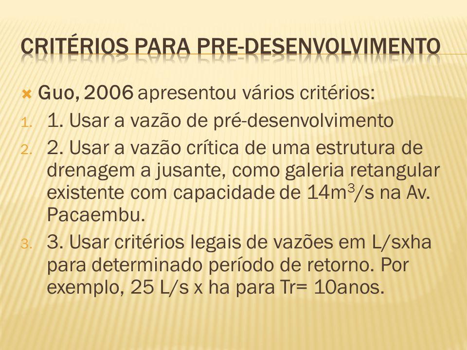 Guo, 2006 apresentou vários critérios: 1. 1. Usar a vazão de pré-desenvolvimento 2.