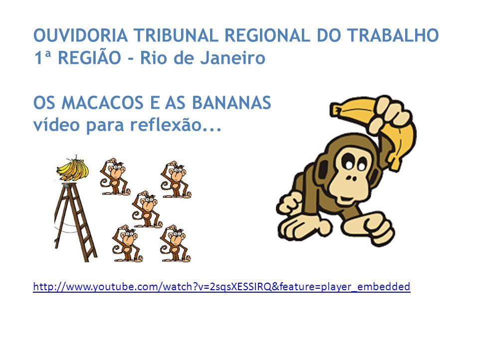 http://www.youtube.com/watch v=2sqsXESSIRQ&feature=player_embedded OUVIDORIA TRIBUNAL REGIONAL DO TRABALHO 1ª REGIÃO - Rio de Janeiro OS MACACOS E AS BANANAS vídeo para reflexão...