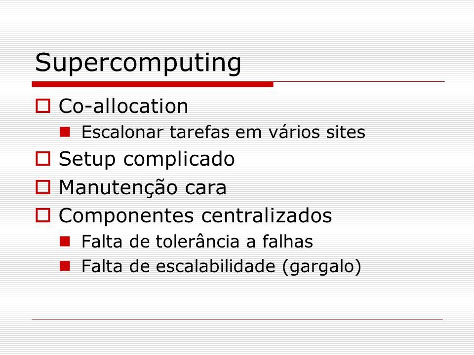 Supercomputing  Co-allocation Escalonar tarefas em vários sites  Setup complicado  Manutenção cara  Componentes centralizados Falta de tolerância a falhas Falta de escalabilidade (gargalo)